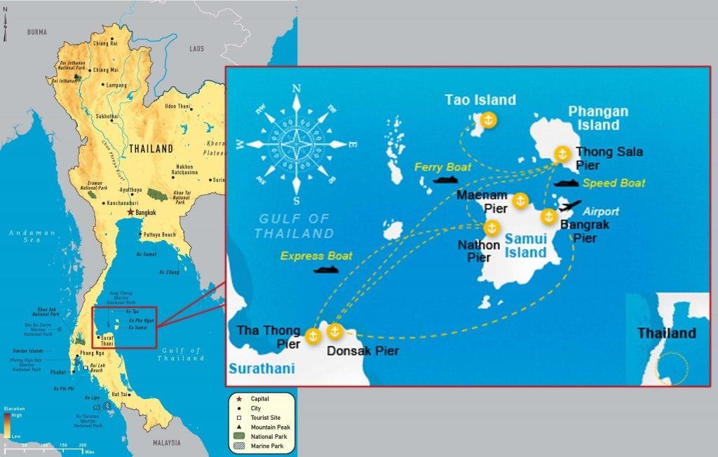 aller de Suratthani à Koh Tao, Koh Phangan ou Koh Samui - carte des 3 îles