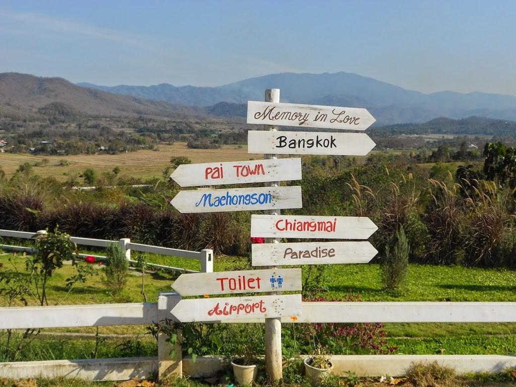 Comment aller à Pai - panneaux indiquant pleins de destinations dans pleins de directions.