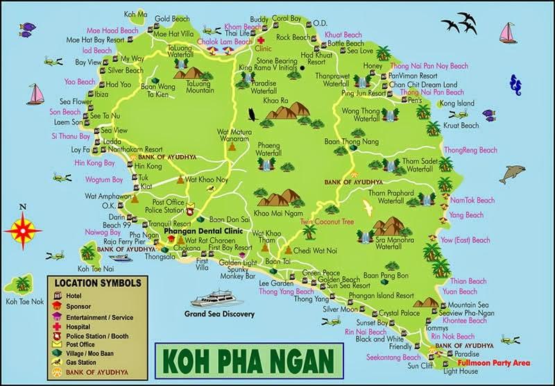 Guide de Koh Phangan - Carte de l'île