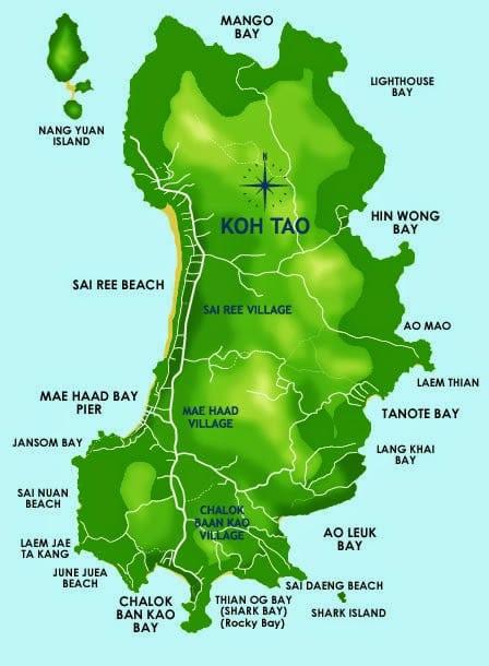 Guide des logements pas chers à Koh Tao - carte de l'île