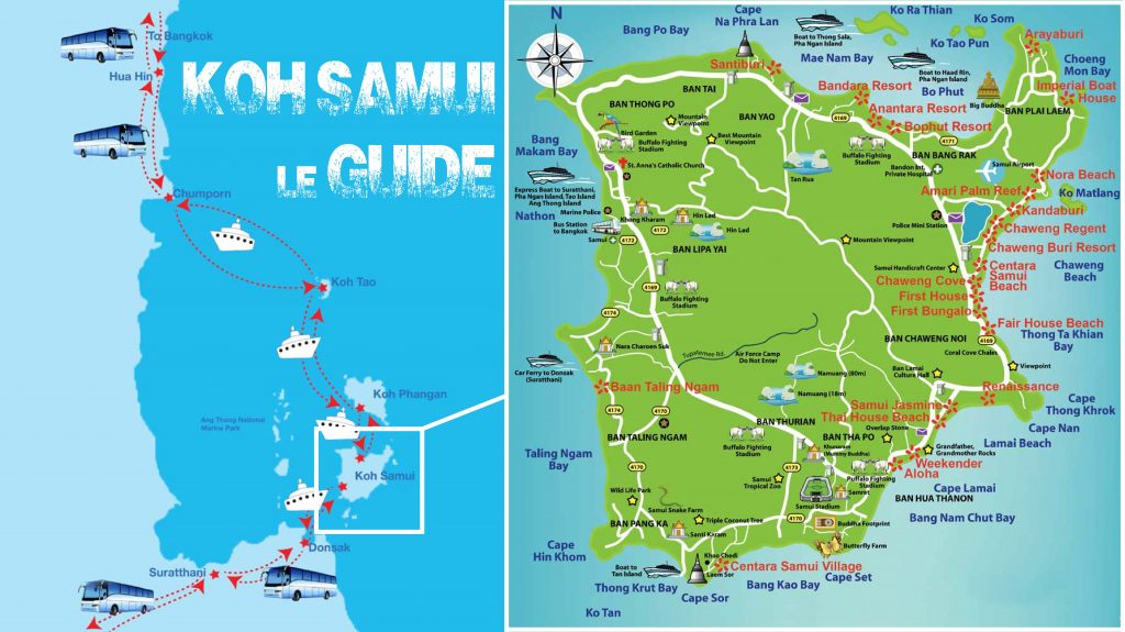Guide de Koh Samui - carte de koh samui